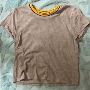 I'm selling a gray T-shirt with collar stripes